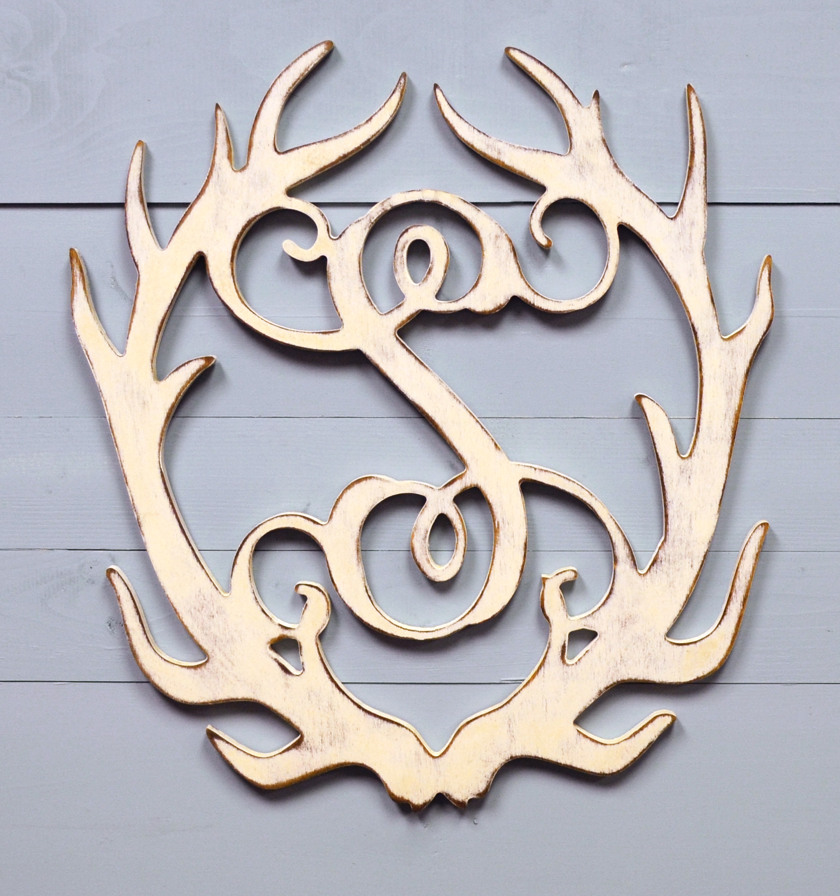 Unfinished wood letters wall decor